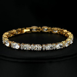 Gold Plated Round Cubic Zircon Inlay Chain Bracelet For Women