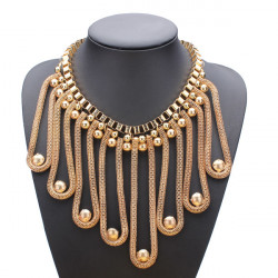 Gold Plated Snake Chains Tassel Statement Bib Necklace Women Jewelry