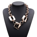 Gold Plated Square Pendant Statement Necklace Chunky Chain Necklace Women Jewelry