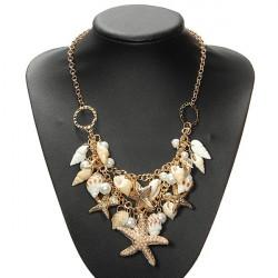 Forgyldt Starfish Shell Pearl Statement Halskæde Chunky Halskæde