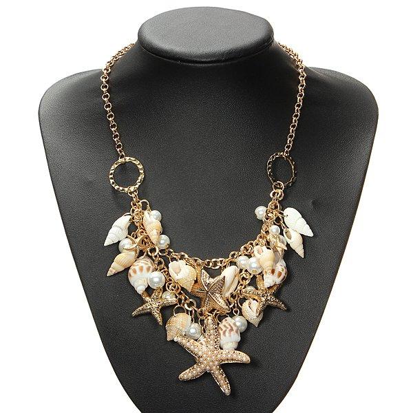 Forgyldt Starfish Shell Pearl Statement Halskæde Chunky Halskæde Damesmykker
