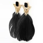 Forgyldt Triangle Goose Feather Drop Øreringe Kvinder Smykker Damesmykker