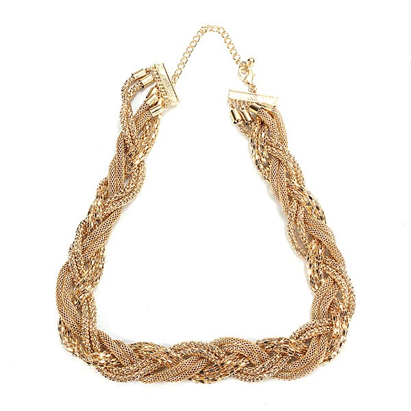 Gold Plated Twist Chain Rolling Cross Shape Lady Statement Necklace Women Jewelry