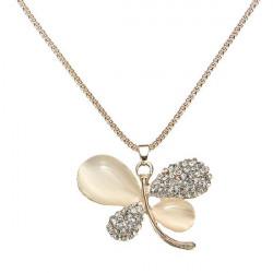 Gold Rhinestone Opal Butterfly Long Chain Pendant Necklace For Women