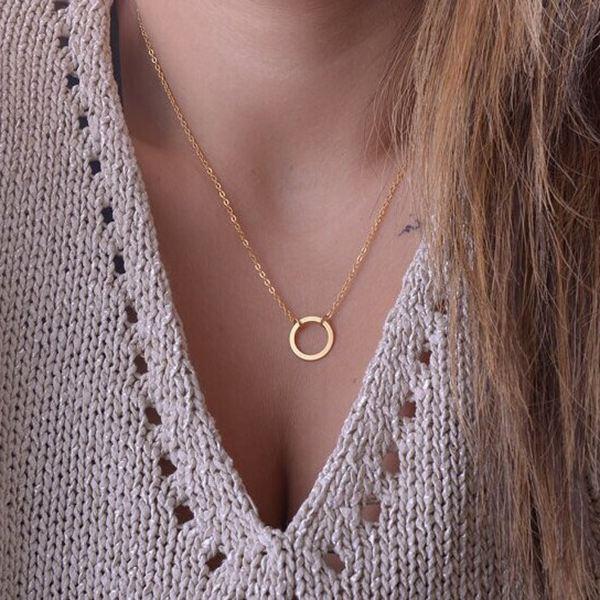 Guld Sølv Circle Kravebenet Kæde Vedhæng Halskæde til Kvinder Damesmykker