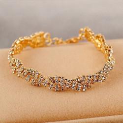 Gold, Silber, Kristall Strass Kette Armband Frauen Schmuck