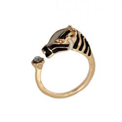 Guld Sølv Crystal Zebra Horse Hoved Justerbar Fingerringe