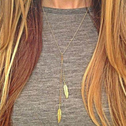 Gold Silver Double Leaf Pendant Necklace For Women