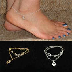 Gold Silver Fatima Hand Hamsa Alloy Anklet Bracelet Foot Jewelry
