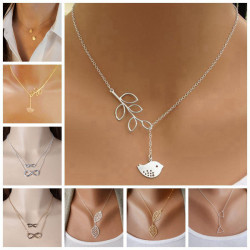 Gold Silver Leaves Bird Cross Infinity Pendant Necklace For Women