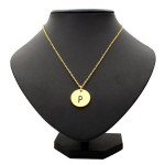 Gold Silver Letter Alphabet Round Pendant Chain Necklace Unisex Women Jewelry