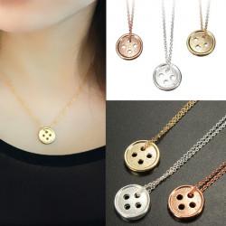 Gold Silber Glück Runder Knöpfe Anhänger Halskette für Frauen