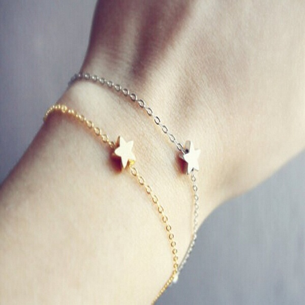 Gold Silber Lucky Star einfache Kette Armband für Frauen Damenschmuck
