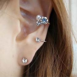 Guld Silver Pärl Crystal Ear Clip Cuff Örhängen för Kvinnor