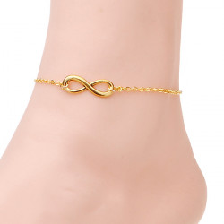 Guld Silverpläterad Infinity 8 Symbol Anklet Armband Metall Foot Chain