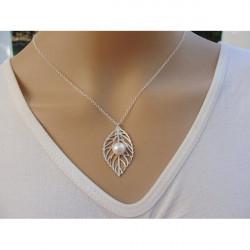Guld Silverpläterad Lämna Pärl Clavicle Halsband Metall Chain Necklace