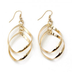 Gold Silver Plated Spiral Cross Dangle Drop Earrings For Women