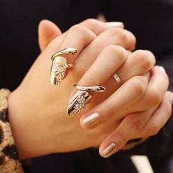 Gold, Silber, Strass Libelle Blumen Finger Öffnungs Ring Nagel Ring