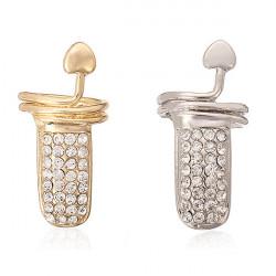 Gold Silver Rhinestone Heart Finger Nail Ring Women Jewelry