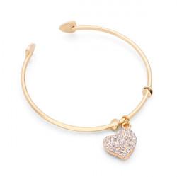 Gold Silver Rhinestone Hollow Peach Heart Love Bracelet Bangle