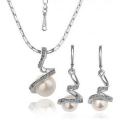 Gold Silver Spiral Crystal White Pearl Necklace Earrings Jewelry Set