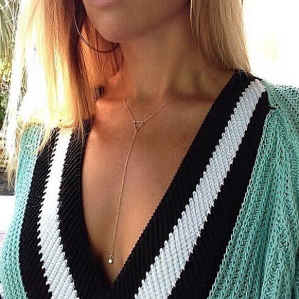 Gold Triangle Rhinestone Hänget Kedjar Halsbandet för Kvinnor Damsmycken
