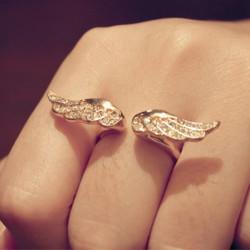 Golden Rhinestone Angel Wings Justerbar Fingerringe for Kvinder