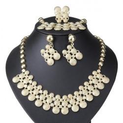 Goldene Rund Legierung Halskette Ohrringe Armband Ring Schmuck Set