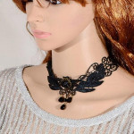 Gothic Rose Flower Beads Pendant Lace Collar Necklace Jewelry Women Jewelry