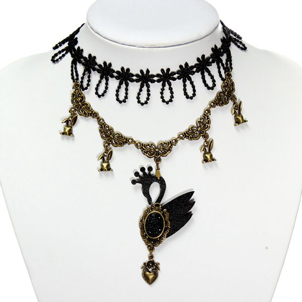 Gothic Swan Beads Pendant Lace Collar Necklace Women Jewelry Women Jewelry