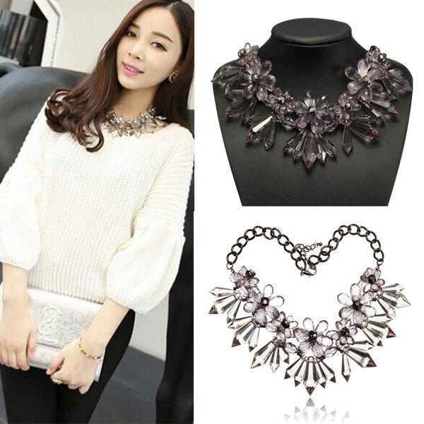 Grau Acryl Kristallblumen Aussagen Halskette klumpige Metallkette Damenschmuck