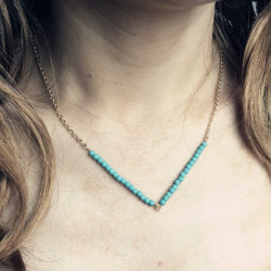Green Beige Link V Beads Chain Necklace For Women