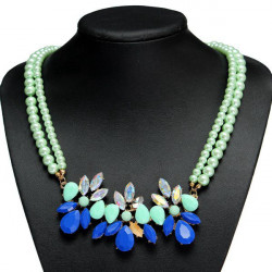 Grön Crystal Blomma Dubbla Lager Pärlor Kedja Chokerhalsband