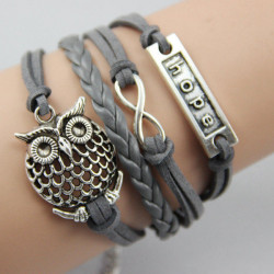 Grey Infinity Owl Hope Friendship Flettet Læder Armbånd
