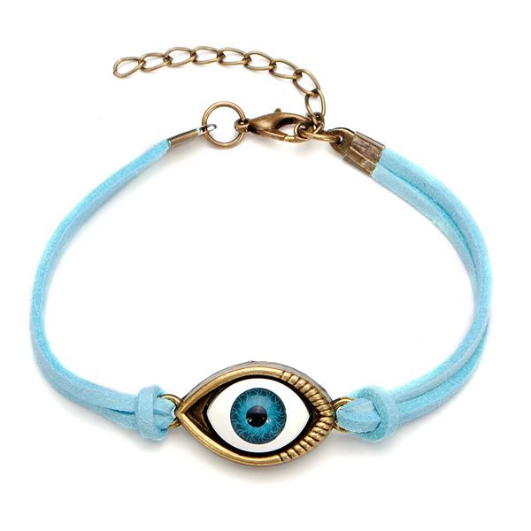 Halloween Blue Evil Eye Leather Bracelet Jewelry For Women Men Women Jewelry