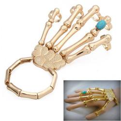 Halloween Gold Punk Skeleton Skull Hand Bone Turquoise Ring Bracelet