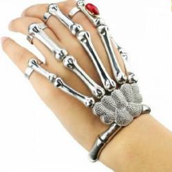 Halloween Silver Punk Rock Skelett Skalle Hand Bone Ring Armband