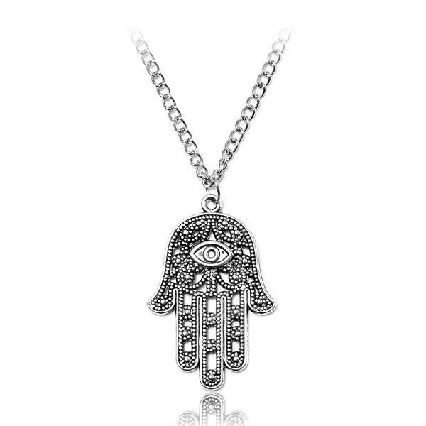 Hamsa Fatima Hand Evil Eye Pendant Chain Necklace Silver Tone Women Jewelry