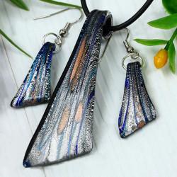 Handgjorda Konst Silver Glass Smyckeset Halsband Hängande Örhänget