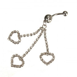 Heart Rhinestone Silver Dangle Navel Belly Button Ring Bar Piercing