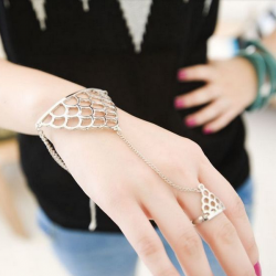 Hollow Triangle Net Finger Ring Chain Bracelet