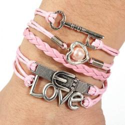 Infinity Herz Perlen Liebe Schlüssel Leder Charme mehrschichtige Armband