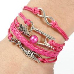 Unendlich Owl Deer Liebe Schlüsselmultilayer Leder Seil Charme Armband