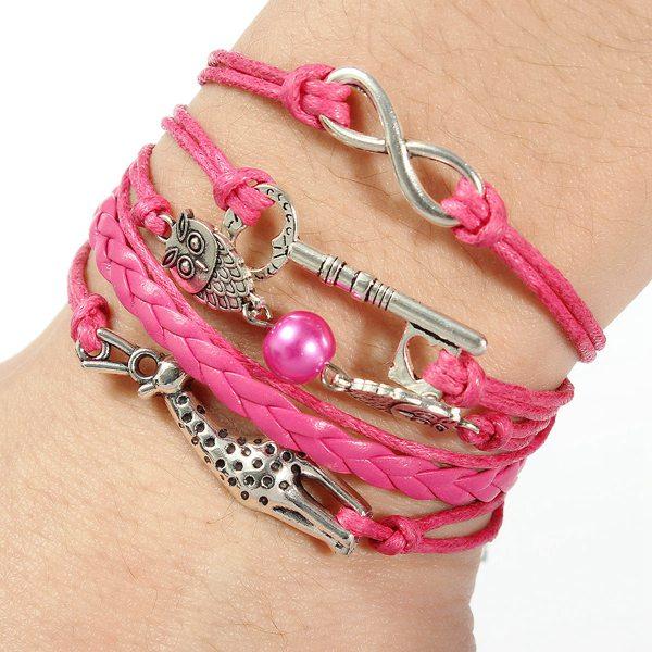 Unendlich Owl Deer Liebe Schlüsselmultilayer Leder Seil Charme Armband Damenschmuck