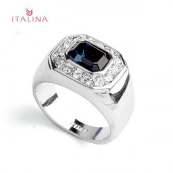 Italina 18K Platinum Plated Austrian Crystal Blue Sapphire Finger Ring