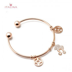 Italina 18K Rose Gold Plated Sheep Coins Charm Open Bangle Bracelet