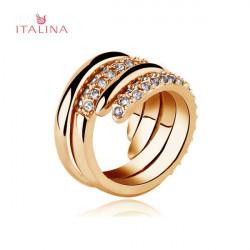 Italina 2st Österrikisk Crystal Rhinestone Ring Rose Gold