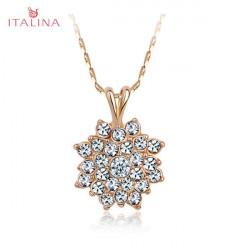 Italina österreichischen Kristall Sonnenblume Anhänger Halskette 18K Rose Gold