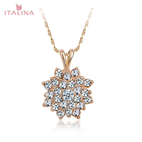 Italina Austrian Crystal Sunflower Pendant Necklace 18K Rose Gold Women Jewelry