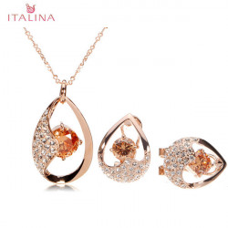 Italina Austrian Crystal Zircon Jewelry Set Necklace Earrings